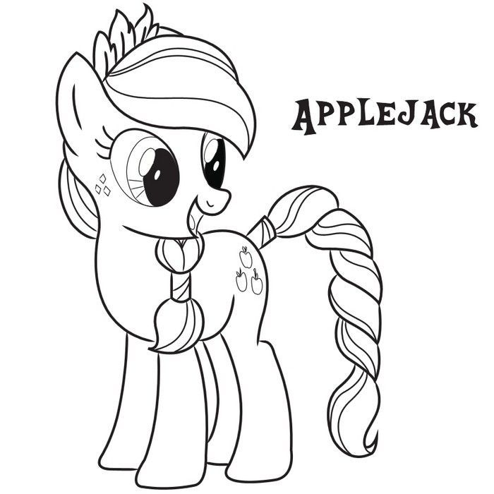 Applejack Coloring Pages My Little Pony Coloring Cartoon