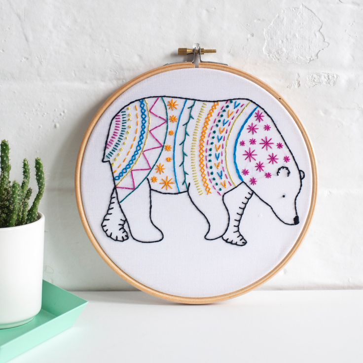 Bear Contemporary Embroidery Kit. Embroidery Hoop Art. Learn How to Embroider. Hand Embroidery Kit. Craft Kit. Embroidery Pattern. by HawthornHandmade on Etsy https://www.etsy.com/listing/458393146/bear-contemporary-embroidery-kit