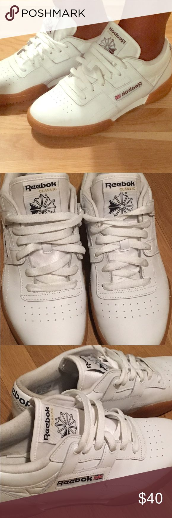 Reebok Classic with rubber sole. All white reebok classic low tops with rubber sole. They're too snug on my feet. Size 6 in kids (boys). Great condition! Reebok Shoes Sneakers
