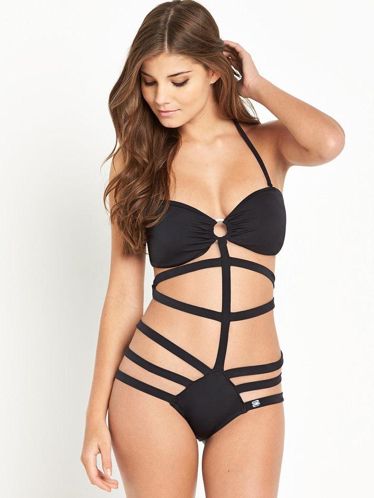 Lipsy Multi Strap Swimsuit, Black