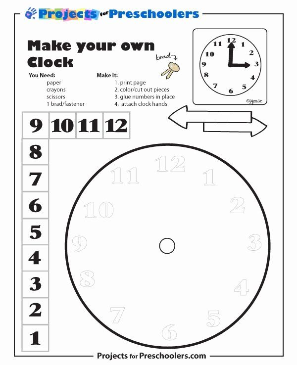 Making A Clock Worksheet Inspirational Check Out More Free Coloring Pages For Preschoolers Free Math Clock Template Make A Clock