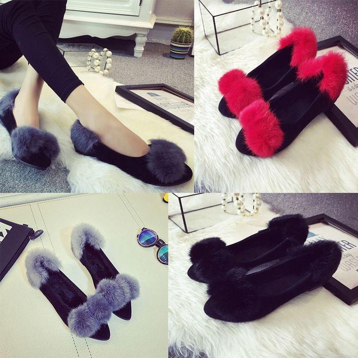 Women Lady Boat Shoes Casual Flat Rabbit Fur Shoes Size 5-9