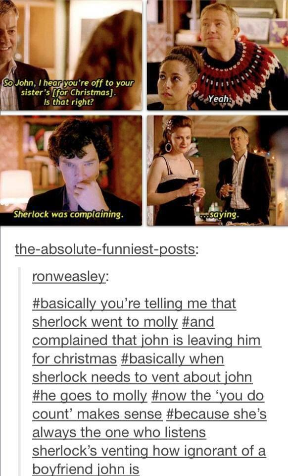 """""""Hahaha I just love this so much. It conjures up unlikely images of Sherlock and Molly going scarf shopping and venting about their boyfriends."""" Pinning for the caption. YES for the epic winningness of all of this. Scarf shopping is the answer to everything."""