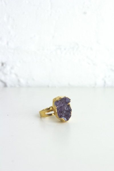 Gold Dipped Amethyst Cluster Ring