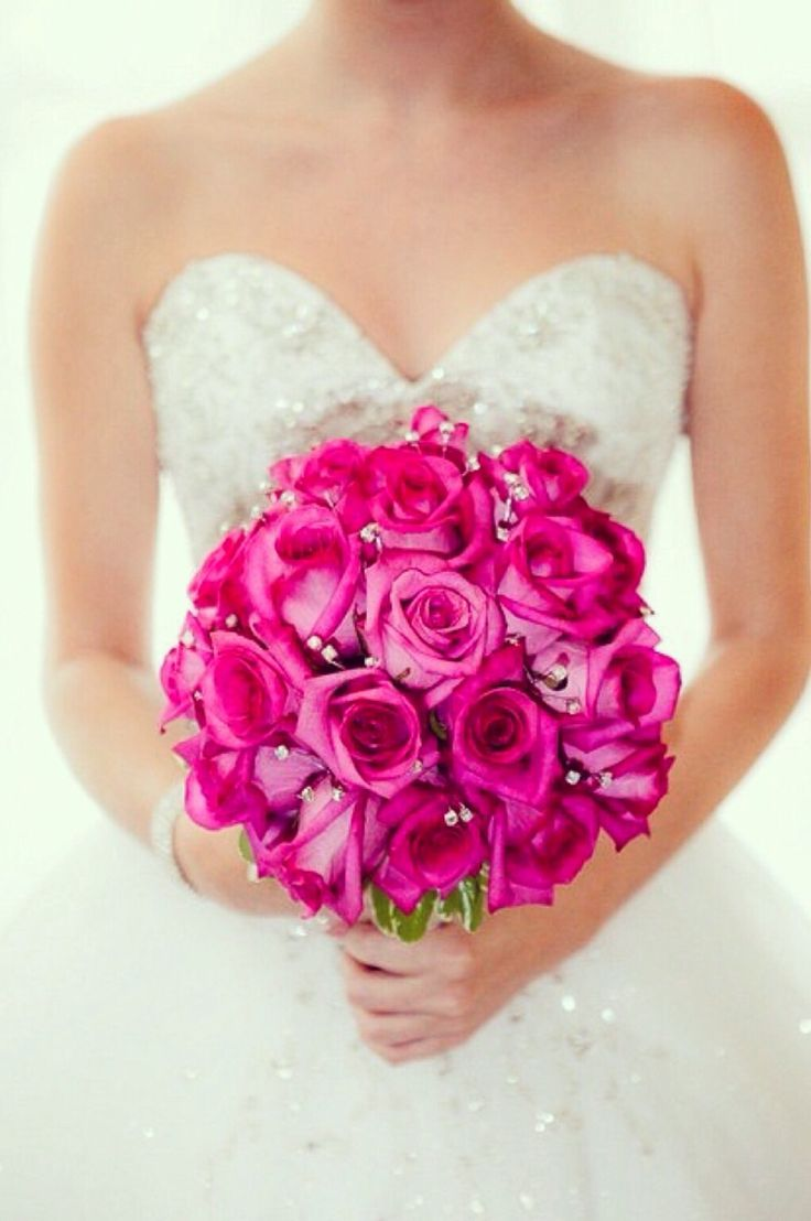 bodice hot pink roses bouquet
