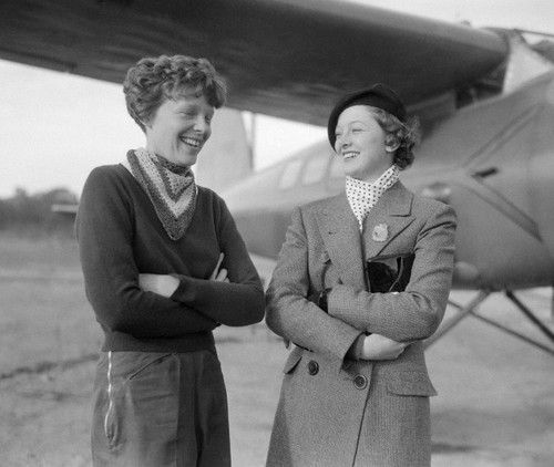 Amelia Earhart and Myrna Loy in1934. EARHART- disappeared July 2, 1937 she was an American aviation pioneer and author. LOY - died on December 14, 1993 during surgery in New York City at the age of 88.