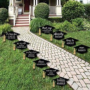 Quaste die Mühe wert - Gold - Grad Cap Shaped Outdoor Graduation Lawn Dekorationen - Abschlussfeier Yard Signs - 10 Stück