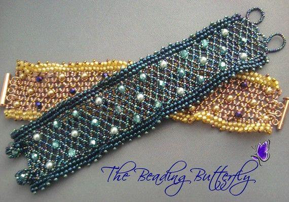 Heaven's Garden Netted Bracelet Tutorial by beadingbutterflyshop