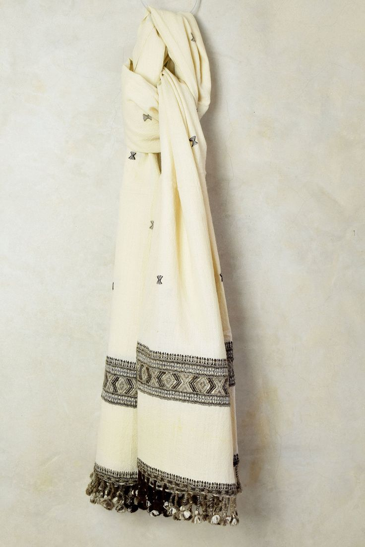 Arctic White Embroidered Shawl