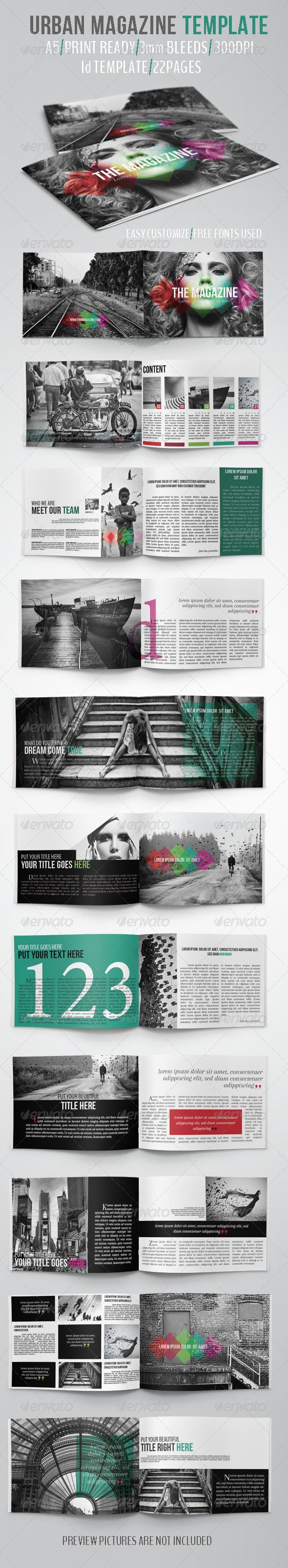 Urban Magazine Template  — InDesign Template #urban #modern • Download ➝ https://graphicriver.net/item/urban-magazine-template/5162870?ref=pxcr