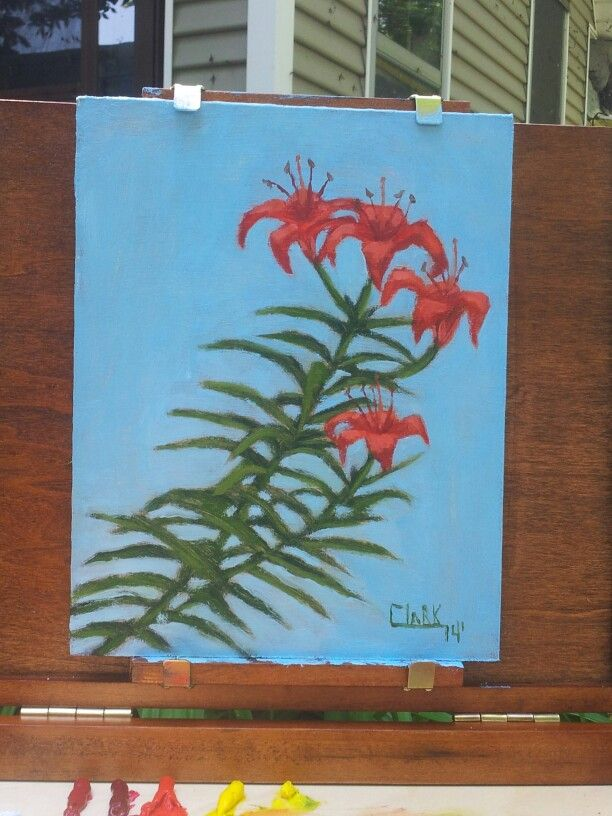 Orange lilies en Plein air