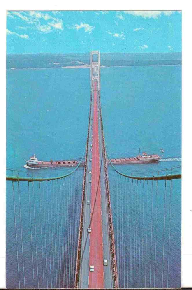 Undated Unused Postcard The Mackinac Bridge Michigan MI Worlds Greatest Bridge