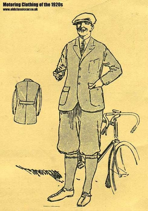 """Modelled by a smart cyclist stood alongside his sporting bicycle, the Tweed Cycling Suit - """"Two-piece Suits in Fancy Grey Tweeds"""