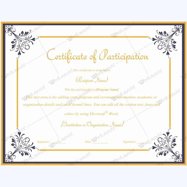Best Certificate Of Participation Templates Images On