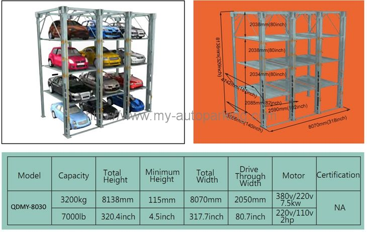 Hydraulic Multilevel Car Stacker Vertical Parking Semi Automatic Garage Car StackingSystem