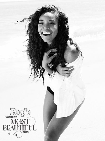 "2015's World's Most Beautiful List | GABRIELLE UNION | The  Being Mary Jane actress, who starred alongside Chris Rock in Top Five, is not only talented and stunning but also hilarious and down-to-earth. When asked by PEOPLE if she would ever enter the reality-TV circuit with husband Dwyane Wade, she responded: ""A cuddle show, where we just cuddle and watch HGTV. That would be like our saucy reality show."""