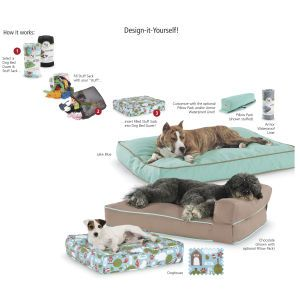 Pillow Pack- do-it-yourself dog bed- stuff the durable canvas with old clothes, pillows, towels, or anything else comfy you don't need!