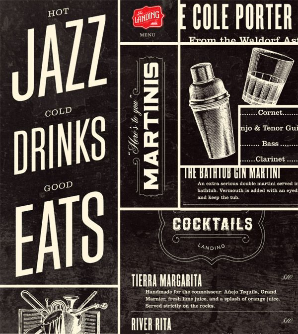 CocktailsMenu Design, Hot Jazz, Brand Identity, Graphicdesign, Graphics Design, Types, Typography, Cold Drinks, Posters