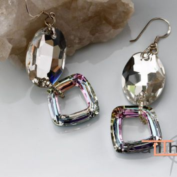 KalitheoCreations Glamour and Elegance Earrings, Genuine Swarovski Elements with Sterling Silver.