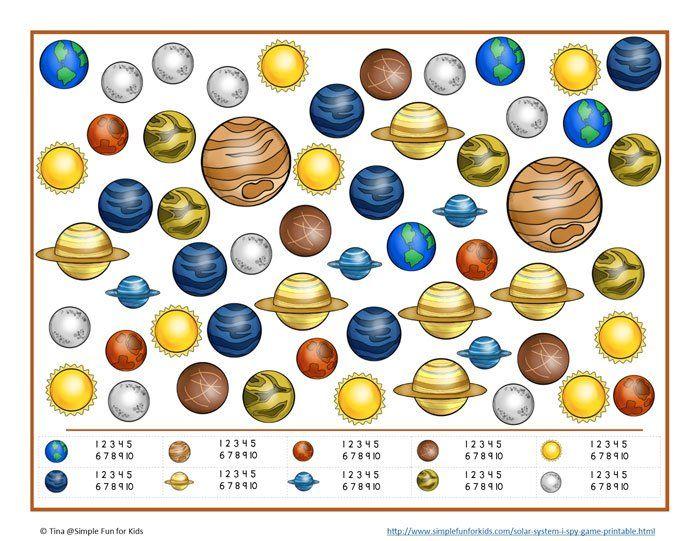 FREE solar system I Spy printable