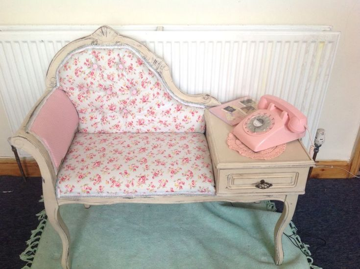 Shabby Chic Vintage Telephone Table Painted In Annie Sloan Old Ochre Refurbished/ebay