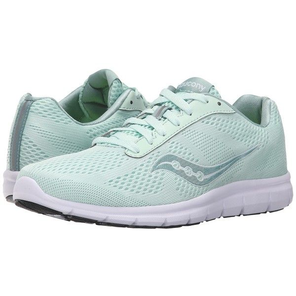 Saucony Ideal (Mint/White) Women's Shoes ($60) ❤ liked on Polyvore featuring shoes, athletic shoes, memory foam shoes, mint shoes, grip shoes, laced shoes and lace up shoes