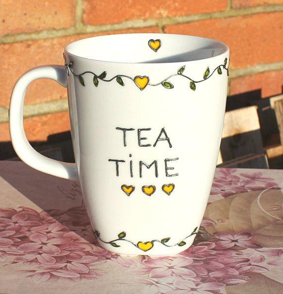 "Hand Painted Porcelain Mug - ""Tea Time"" Design, Tea Mug, Gift Idea for Tea lovers on Etsy, $20.00"