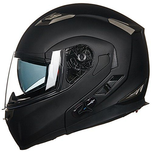 ILM Bluetooth Integrated Modular Flip up Full Face Motorcycle Helmet Sun Shield Mp3 Intercom (XL, MATTE BLACK). For product info go to:  https://www.caraccessoriesonlinemarket.com/ilm-bluetooth-integrated-modular-flip-up-full-face-motorcycle-helmet-sun-shield-mp3-intercom-xl-matte-black/
