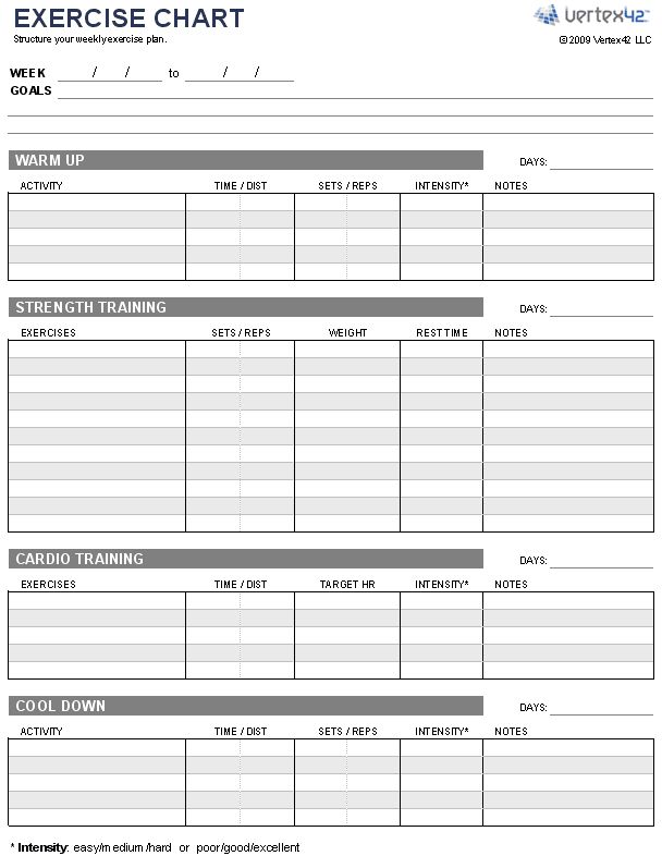 Free Exercise Chart Or MS Excel  Use This Template To Create Your Weekly  Exercise Plan