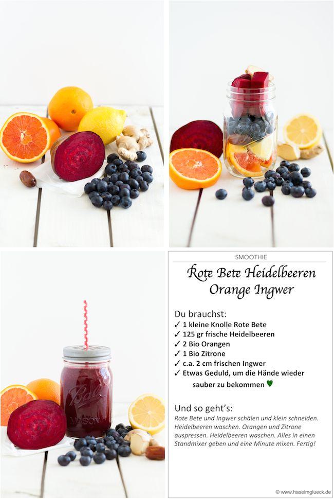 Smoothie Rote Bete Heidelbeeren Orange Ingwer // Smoothie Red Bete Blueberries Orange Ginger
