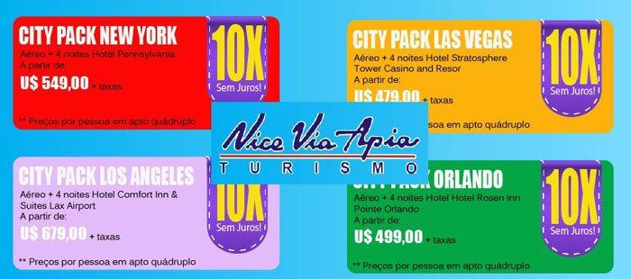 Pacotes Promocionais para Estados Unidos Nova York / Los Angeles / Las Vegas / Orlando São 4 Pacotes Promocionais. Escolha o seu!