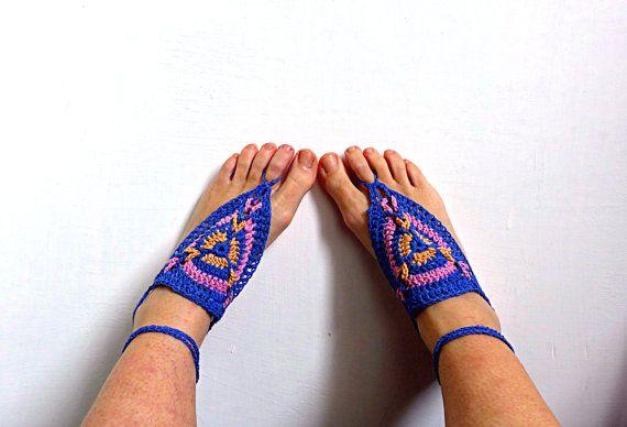 Sandali a piedi nudi all'uncinetto per donne e bimbe in cotone, cavigliera x vacanza estiva in spiaggia o matrimonio boho, PRONTO DA SPEDIRE