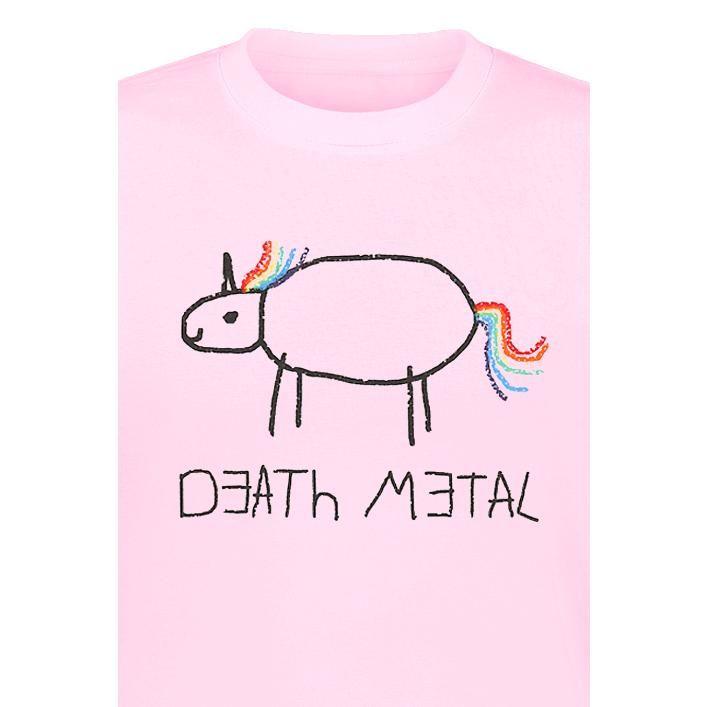 """Death Metal  - tryk på fronten - rund hals  Tør du? Pink t-shirt til herrer med """"Death Metal"""" og tegning i børnestil."""
