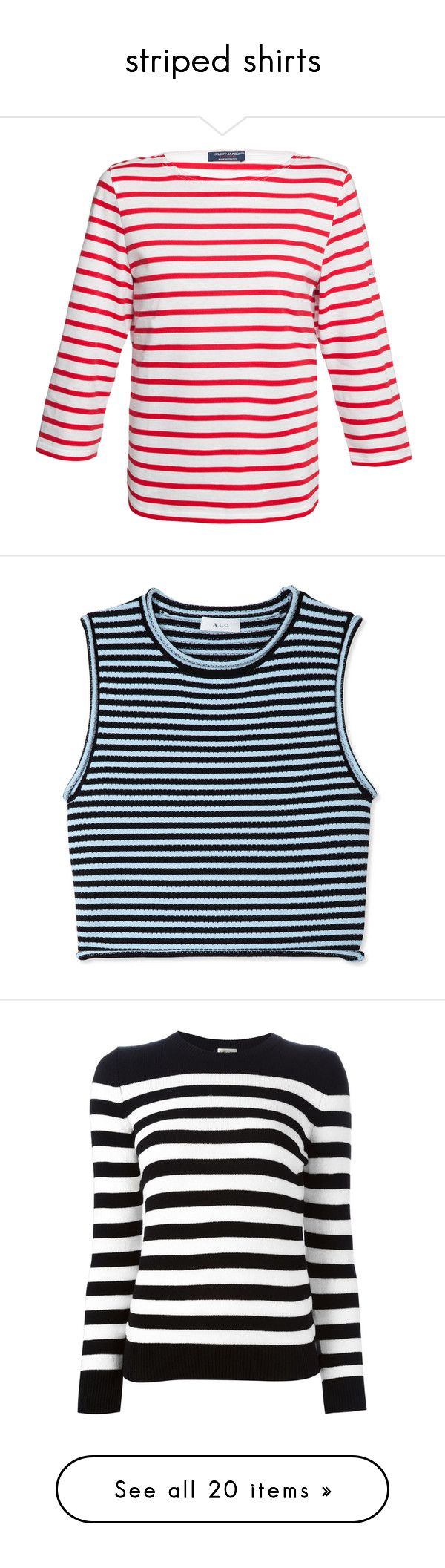 """""""striped shirts"""" by valenciathefriend ❤ liked on Polyvore featuring tops, shirts, red, sailor shirt, white 3/4 sleeve shirt, boat neck tops, 3/4 sleeve tops, 3/4 sleeve shirts, crop tops and tank tops"""