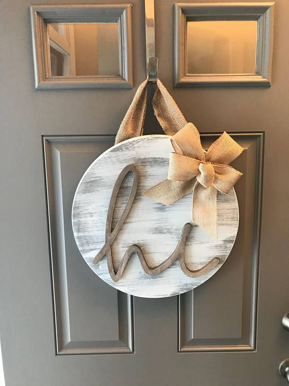 Hi Door Hanger, Front Door Decor, Front Door Wreath Year Round, Distressed Door Hanger, Sign For Front Door, Door Hanging, Rustic Door Decor