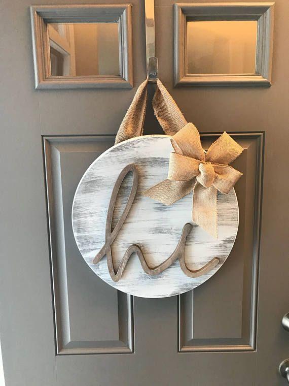 """Hi Door Hanger, Front Door Decor, Front Door Wreath Year Round, Distressed Door Hanger, Sign For Front Door, Door Hanging, Rustic Door Decor ------------------------- 18"""" wood round door hanger - approx 1"""" thick. The burlap hanger is about 6"""" long. Wood round is distressed grey"""