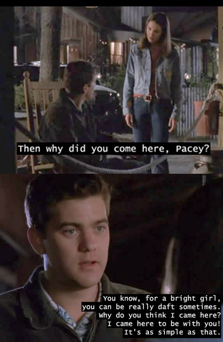 I have watched this specific part of DC so many times. The lead up to Pacey and Joey is the absolute best part of the whole show.