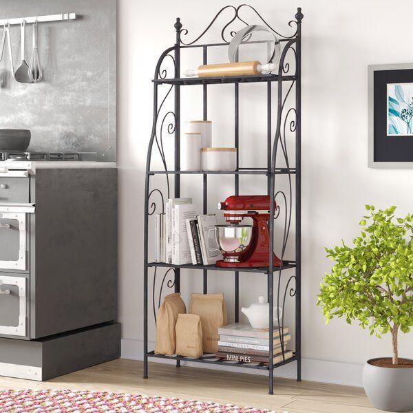 Aelia Iron Baker S Rack Bakers Rack Faux Marble Countertop Shelf Design