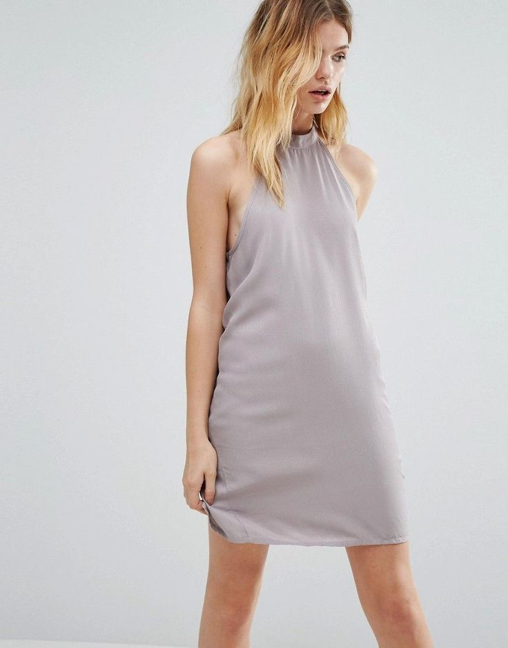 Buy it now. Native Youth High Neck Swing Dress - Grey. Dress by Native Youth, Lightweight woven fabric, High halter neck, Dropped armholes, Relaxed fit, Dry clean, 100% Viscose, Our model wears a UK XS/EU 36/US 4 and is 176cm/5'9.5 tall. ABOUT NATIVE YOUTH Native Youth introduces oversized silhouettes and lightweight co-ords into your wardrobe this season. Expect clean shapes and soft-touch tencel contrasted with raw-edge finishes and textured jersey. , vestidoinformal, casual, camiseta…