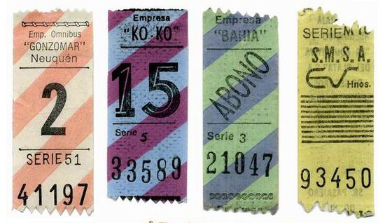 Vintage Argentinean bus tickets, via Present Correct.