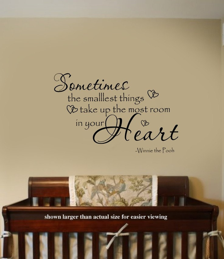 Sometimes the smallest Things Winnie the Pooh Quote Nursery VInyl Wall Lettering Decal LARGE 36Wx22H. $38.00, via Etsy.