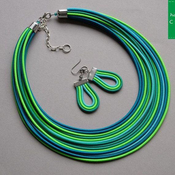 COLORIKA jewellery, COLORIKA necklace, Fabric necklace multi strand necklace statement necklace