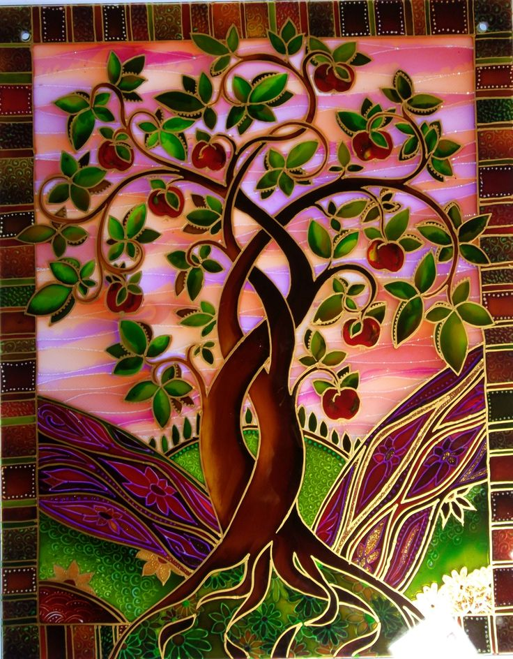 """Entwined Apple Tree"" Original painted glass Panel. By the glass orchard.for comisions contact Deb at debsinledbury@live.co.uk"