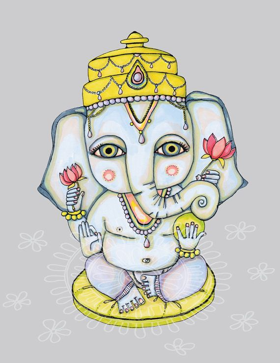 Peaceful GANESHA Print of Original Illustration by ArtThatMoves, $16.00