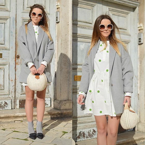Get this look: http://lb.nu/look/8655177  More looks by Tamara Bellis: http://lb.nu/tamarabellis  Items in this look:  Gamiss Dress, Lulugal Coat, Zaful Basket Bag, Zaful Bowknot Boots, Zaful Sunglasses   #chic #romantic #street