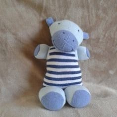 Doudou hippopotame tout doux, couleurs personnalisables