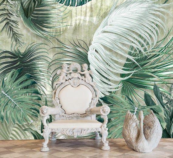 Big Tropical Leaves Wallpaper Leaf Wall Poster Trendy Living Etsy In 2020 Leaf Wallpaper Textured Wallpaper Custom Wallpaper