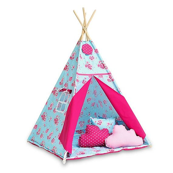 Teepee play tent is a great hiding place for your child at any time of the year. You can enjoy it at home, on the terrace, balcony or garden. Decorate any interior and give comfort.  The tent is lightweight and easy to assemble, so you can freely move and rearrange. Made up of two color fabrics. It has a charming window, and commonly established laps. Inside it has 2 pockets for treasures of your child. It includes free of charge decorative pendant!  For sale is teepee set Angelic Rose…