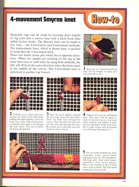 Latch hook how to page rug diy vintage retro make it yourself