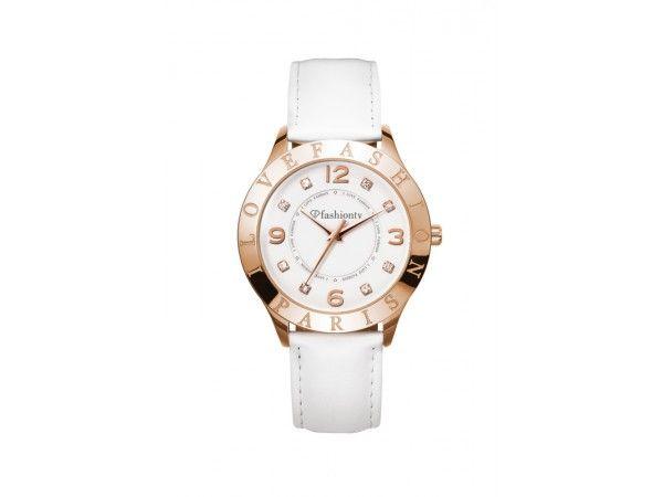 Analoog rosé goud Fashion unisex horloge model Sierra met wit leder horlogeband